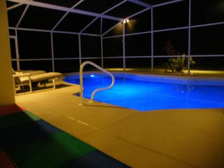 The pool light changes colour to enhance your night time swim