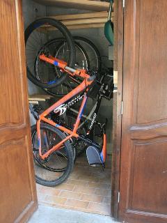 Ski locker becomes a bike locker in summer!