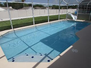 30x15 south/west facing  solar panel heated pool with childrens water slide. Relined in 2014