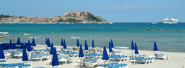 Calvi beach from one of the many beachside restaurants