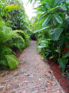Short pathway to pool in shared six-cottage compound.