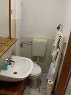 Großer Handtuchhalter-Heizkörper und Fenster im Bad