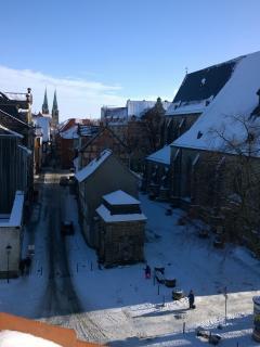 Blick auf Marktkirche & Kornmarkt bis in die Bockstraße