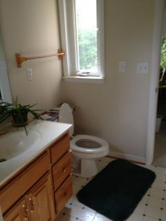 Loft bathroom accessible from both rooms upstairs.