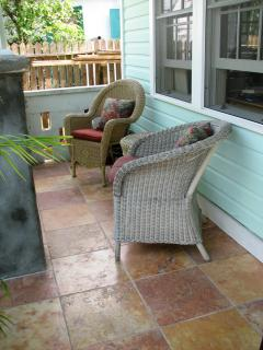 lovely front porch with marble tile