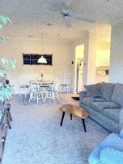 Open layout of dining room to living room