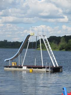 20' TALL WATER SLIDE AND FLOATING SWIMMING PLATFORM FOR DIVING