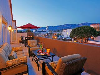 The roof top terrace with mountain and city views