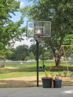 SHADED HALF COURT BASKETBALL COURT WITH ADJUSTABLE HOOP