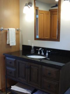 Granite bathroom vanity.