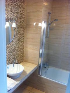 Modern bathroom with both shower and bath.