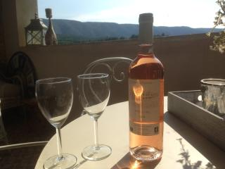 Ambiance on the terrace, with view of Luberon