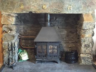 The magnificent stone fireplace