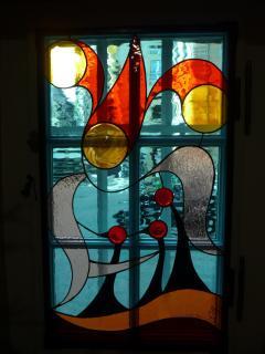 Un superbe vitrail reprenant les armoiries des Waldner de Freundstein