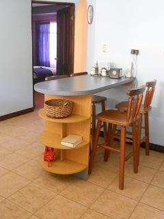 Breakfast bar in kitchen.