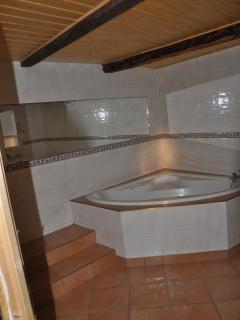 The bathroom with heated floor