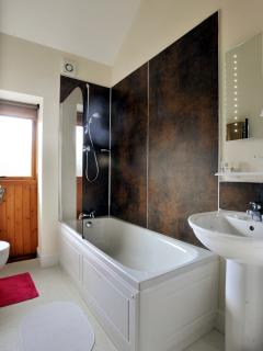 The modern bathroom with bath and shower