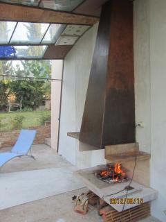 barbecue under the glass veranda