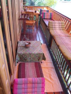 Teak balcony with extra dining area