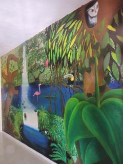 A mural in the living room painted by a local Island artist!