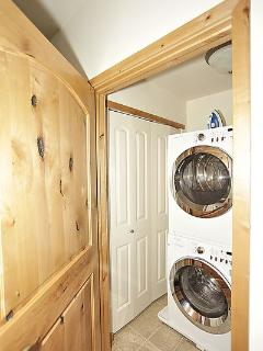 Quietly tucked away is your private washer and dryer