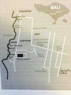 The location of the villa in Sayan. A short walk across the road from the villa is the Ayung River.