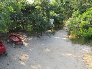 Walk two minutes to reach the beach path.