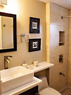 The bathrooms provide a peaceful and spa-like atmosphere