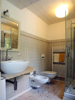 Uno dei due bagni con ampio box doccia (150x90cm)