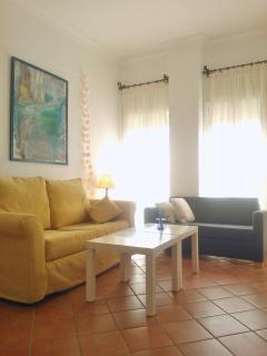 La zona de estar tiene dos sofás. Uno de ellos se convierte fácilmente en cama, con ancho de 118 cm.