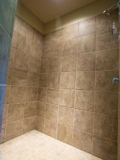 Stand alone tile shower
