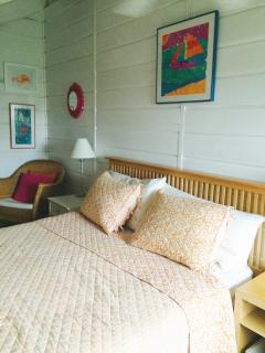 Bedroom #3 Queen Sized Bed, 2 Seating Areas and large dresser