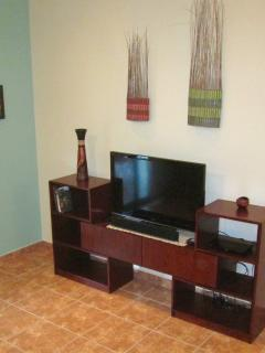 Entertainment Center features flat screen TV, SKY TV (many English channels), DVD & a few movies.