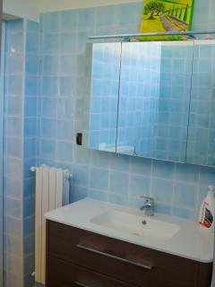 Accogliente bagno piastrellato, accessori e rubinetteria funzionanti e ricca di essenziali.