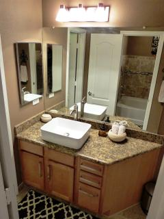 Bathroom with vessel sink and granite counter top. Separate entrance from living area and master bed