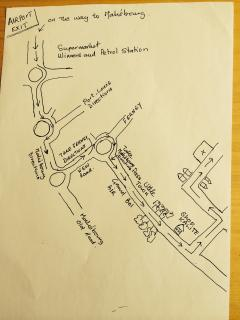 Road plan from the Airport to the villa