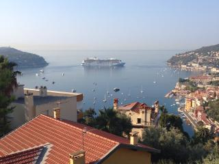 View of the lovely bay from the swimming pool. Cruise ships regularly arrive in VF