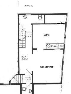 Grundriss vom Wohnzimmer, Küche, Bad und Gäste-WC