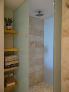 Shower, with rainfall shower head.
