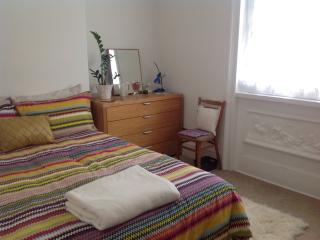 Recently decorated  double bedroom with room for cot (provided) high chair too. Regency featurea too