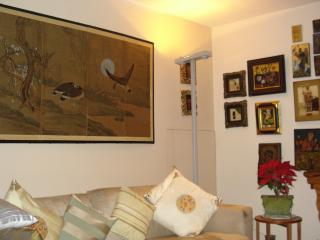 Communal living room with eclectic art works