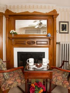 Taft Deluxe Bedroom - romantic fireplace with antique wood fireplace surround