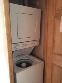 Unit includes a washer and dryer