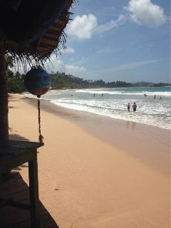 Beach bar and restaurants on Mirissa Beach.