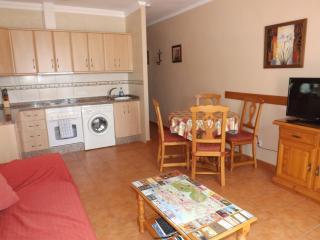 Open plan living area with ceiling fan