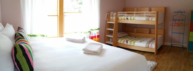 Family bedroom sleeps 4, either Super king or twin beds plus bunk beds, high quality luxury all roun