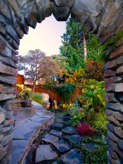 Tapered arch entrance to the garden.