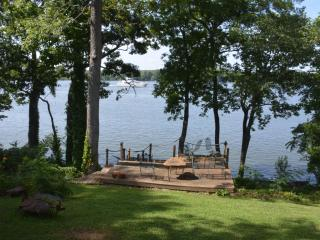 Pickwick Lake view from porch. Large multi-level deck and stairs to lakefront fishing from pier.