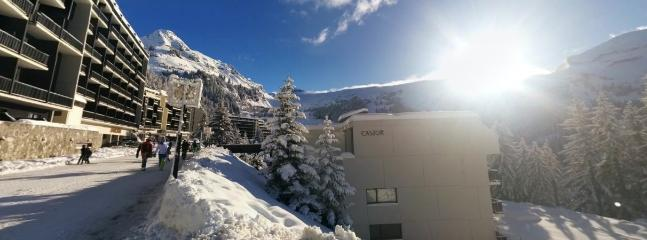 Winter view outside apartment in Flaine Foret.