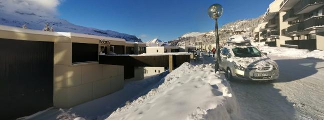 Winter view of front of apartment block